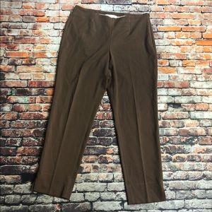 Ellen Tracy sz 10 Brown trousers flat front career